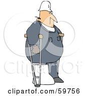 Royalty Free RF Clipart Illustration Of An Injured Male Worker Using Crutches