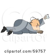 Royalty Free RF Clipart Illustration Of A Thirsty Male Worker Holding Up A Cup And Crawling