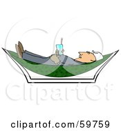 Royalty Free RF Clipart Illustration Of A Male Worker Holding A Beverage And Relaxing In A Hammock