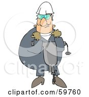 Royalty Free RF Clipart Illustration Of A Worker Man Carrying A Jackhammer by djart