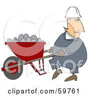 Male Worker Pushing A Wheelbarrow Full Of Concrete Mix
