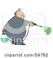 Royalty Free RF Clipart Illustration Of A Male Worker Spraying Insecticide