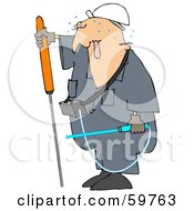 Royalty Free RF Clipart Illustration Of A Male Worker Sweating And Checking For Gas Leaks