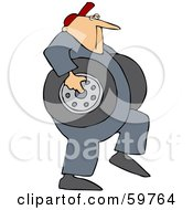 Royalty Free RF Clipart Illustration Of A Mechanic Carrying Two Heavy Tires by Dennis Cox