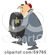 Royalty Free RF Clipart Illustration Of A Mechanic Carrying A Heavy Tire by Dennis Cox