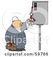 Royalty Free RF Clipart Illustration Of A Worker Guy Reading An Electrical Tag by djart