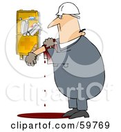 Royalty Free RF Clipart Illustration Of An Injured Worker Bleeding Near A First Aid Kit by djart