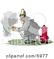 Fireman Spraying Water From A Hose Attached To A Fire Hydrant Clipart Picture