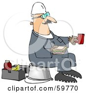 Royalty Free RF Clipart Illustration Of A Male Worker Sitting On A Pail And Eating A Sandwich At Break Time by Dennis Cox