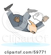 Royalty Free RF Clipart Illustration Of A Male Worker Taking A Fall On A Slipper Floor by djart