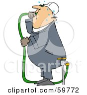 Thirsty Worker Man Gulping Hose Water