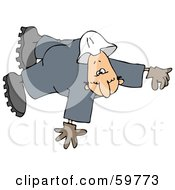 Royalty Free RF Clipart Illustration Of A Male Worker Taking A Fall Or Floating