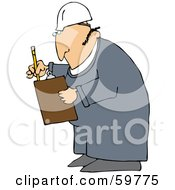 Male Worker Checking Off A List On A Clipboard