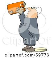Royalty Free RF Clipart Illustration Of A Very Thirsty Worker Man Drinking Straight From A Large Cooler