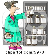 Female Pharmacist Restocking The Shelves With Bottles Of Medicine And Drugs by djart