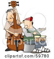 Jazz Group Playing A Bass And Bongos