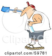 Royalty Free RF Clipart Illustration Of A Man Carrying A Fly Swatter And Bug Spray