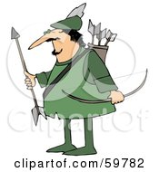 Royalty Free RF Clipart Illustration Of Robin Hood With His Arrows And Bow by djart