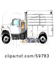 Royalty Free RF Clipart Illustration Of A Male Mechanic Repairing An Industrial Truck by Dennis Cox
