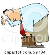Royalty Free RF Clipart Illustration Of A Businessman Bending Over And Giving The Thumbs Up by Dennis Cox