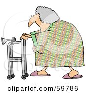 Royalty Free RF Clipart Illustration Of A Granny Walking By With Her Walker