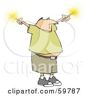 Royalty Free RF Clipart Illustration Of A Chubby Man Holding Out Sparklers by djart