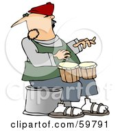 Man Sitting And Playing Bongos