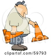 Royalty Free RF Clipart Illustration Of A Man Setting Out Orange Construction Cones by djart