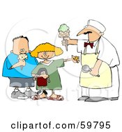 Royalty Free RF Clipart Illustration Of A Little Girl And Boy Buying Ice Cream Cones
