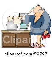 Royalty Free RF Clipart Illustration Of A Sleepy Man In A Robe Preparing Coffee And Toast In His Kitchen