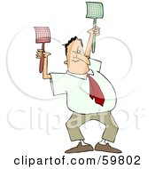 Royalty Free RF Clipart Illustration Of An Angry Man Holding Two Fly Swatters