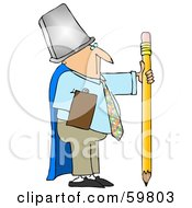Royalty Free RF Clipart Illustration Of A Businessman Warrior Wearing A Trash Can And Cape Holding A Pencil by djart