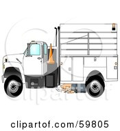 Royalty Free RF Clipart Illustration Of A Kneeling Man Inspecting The Underside Of His Work Truck