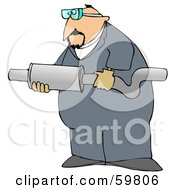 Royalty Free RF Clipart Illustration Of A Male Worker Carrying A Muffler by Dennis Cox