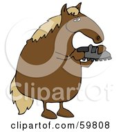 Royalty Free RF Clipart Illustration Of A Brown Horse Standing On His Hind Legs And Inspecting A Shoe