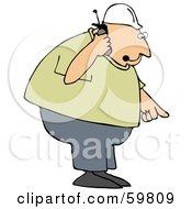 Royalty Free RF Clipart Illustration Of A Bossy Contractor Talking On A Phone And Pointing Down