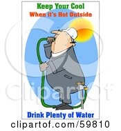Royalty Free RF Clipart Illustration Of A Thirsty Worker Drinking Hose Water by djart