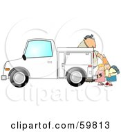 Royalty Free RF Clipart Illustration Of Children Watching A Man Set Out Construction Cones by djart