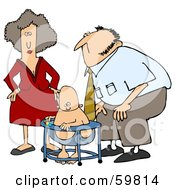 Royalty Free RF Clipart Illustration Of A Mom And Dad Watching Their Baby Play In A Bouncer