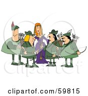 Royalty Free RF Clipart Illustration Of A Princess Surrounded By Robin Hood And His Merry Men