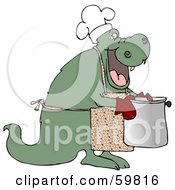 Royalty Free RF Clipart Illustration Of A Green Dragon Wearing An Apron And Carrying A Pot by djart