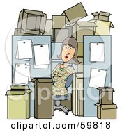 Royalty Free RF Clipart Illustration Of A Busy Woman Working In A Tiny Cubicle Crowded With Boxes by Dennis Cox