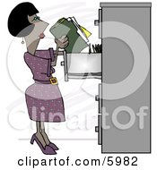 African American Female Clerk Putting Documents Into A Filing Cabinet Clipart Picture