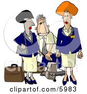 Commercial Airline Flight Attendants Clipart Picture