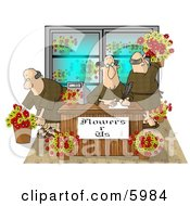 Three Men Working In A Flower Store Clipart Picture