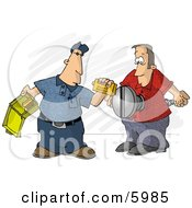First Aid Assistant Helping Screwed Man Clipart Picture