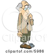 Forgetful Old Man With Alzheimers Disease Clipart Picture by Dennis Cox