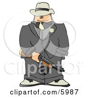 Gangster Armed With A Tommy Gun Clipart Picture
