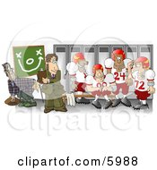 Football Coach Standing In The Locker Room With His Players Clipart Picture by djart