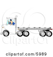 Man Backing Up A Semi Truck With An Empty Flatbed Trailer Clipart Picture by djart